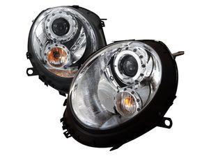 ES#3021247 - 2LHPMINI06TM - Halo LED Projector Chrome Headlights - Pair 2LHP-MINI06-TM  - LED DRL and black housing halogen projector headlight set! - Spec-D Tuning - MINI