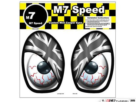 ES#3089003 - 92-9007 - M7 Eye Decal Set - Union Jack Grayscale - Add some eyes to your engine bay wheel well - M7 Speed - MINI