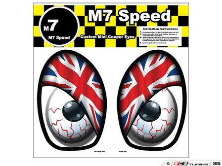 ES#3089004 - 92-9008 - M7 Eye Decal Set - Union Jack Color - Add some eyes to your engine bay wheel well - M7 Speed - MINI