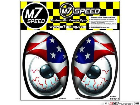 ES#3089009 - 92-9013 - M7 Eye Decal Set - American Flag Color - Add some eyes to your engine bay wheel well - M7 Speed - MINI