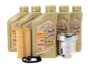 ES#2784796 - FSI20TECSKT1 -  Genuine Oil Service Kit - With Magnetic Drain Plug & Polished Aluminum Oil Filter Housing - Includes Genuine oil, filter, magnetic drain plug, and polished aluminum filter housing - Assembled By ECS - Volkswagen