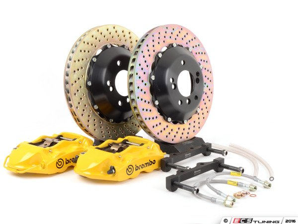 ES#3031942 - 2P1.8033A - Rear Brembo GT 4 piston Big Brake Kit (345x28mm) - Upgrade to 2 piece rotors (drilled), 4 piston calipers (yellow), & high performance Brembo pads - Brembo - BMW