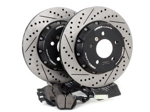 ES#3046849 - 010830ECS01KT1 - Performance Rear Brake Service Kit - Featuring ECS 2-piece semi-floating cross-drilled and slotted rotors with Hawk HPS pads - Assembled By ECS - BMW
