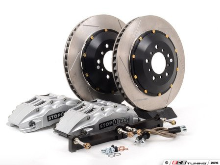 ES#3118292 - 83.152.6800.61 - StopTech front 6 piston big brake kit (380x32mm) - Comes with 6 piston silver calipers, 2 piece uncoated slotted rotors and stainless steel brake lines. - Includes brackets and mounting bolts - StopTech - BMW
