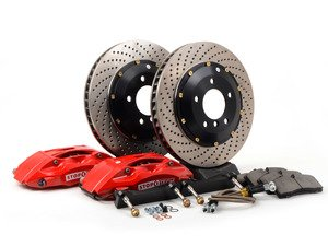 ES#3048536 - 83.133.4600.72 - StopTech front 4 piston big brake kit (332x32mm)  - Comes with 4 piston red calipers, 2 piece uncoated drilled rotors and stainless steel brake lines. - Includes brackets and mounting bolts - StopTech - BMW