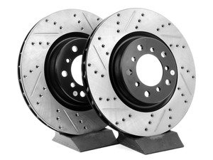 ES#3025768 - TMS12033 - Cross-Drilled & Slotted Brake Rotors - Front  - This design removes performance robbing outgas and material dust caused by braking - StopTech - BMW