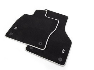 "ES#2818286 - 5G1061325041 - Mojo Mats Floor Mat Set - Black with Gray Piping - Keep your interior showroom fresh with a set of four carpeted black floor mats with white ""R"" logo and gray piping - Genuine Volkswagen Audi - Volkswagen"