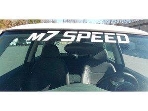 ES#3098412 - 92-9030  - M7 Curved Windshield Banner Decal - White - Vinyl windshield sticker - M7 Speed - MINI