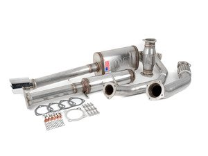 """ES#3081885 - 9549283 - 2.5"""" Turbo Back Exhaust System - Stainless Steel  - 2.5"""" 304 stainless steel with high flow catalytic converter and a single 4"""" polished double wall stainless tip - 42 Draft Designs - Volkswagen"""