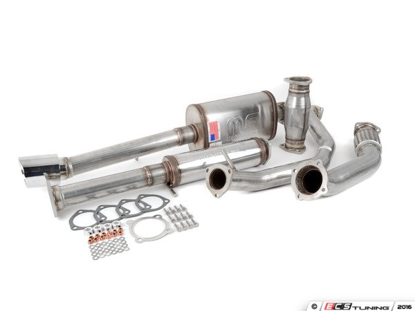 "ES#3078686 - 4907990 - 3"" Turbo-Back Exhaust System - Stainless Steel - Non-Resonated - Stainless Steel V-band construction with 200-cell high flow cat, with twin single wall polished tips - 42 Draft Designs - Volkswagen"