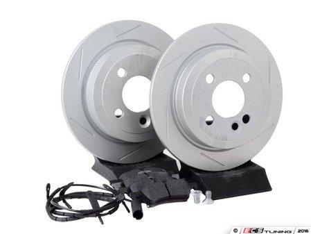 ES#2795735 - 34216774987SLKT1 - Performance Rear Brake Service Kit - Featuring ECS GEOMET Slotted rotors and Hawk HPS pads - Assembled By ECS - MINI