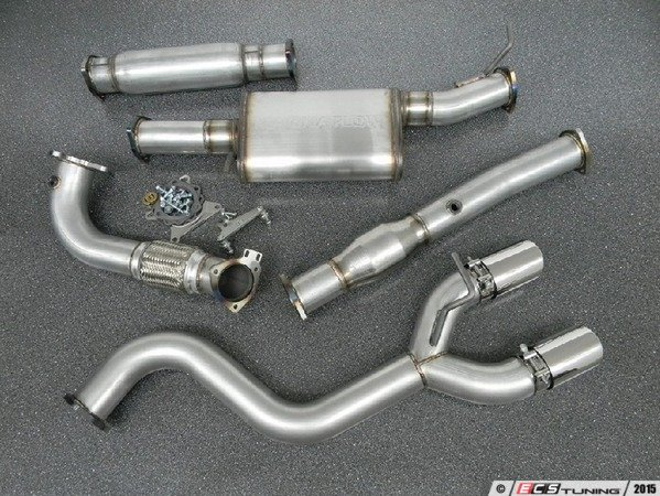"""ES#3076694 - 1854863 - 3"""" Turbo-Back Exhaust System - Aluminized Steel - Resonated - Aluminized Steel construction with 200-cell high flow cat, with dual 3.5"""" polished tips - 42 Draft Designs - Volkswagen"""