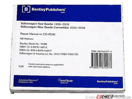 ES#2125 - VENB - New Beetle (98-02) Factory Service Repair Manual On CD By Robert Bentley - Bentley -