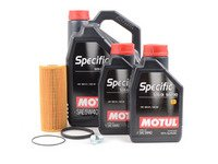 ES#3125751 - 06E115562AKT1 - Oil Service Kit - Premium  - Includes MANN oil filter, drain plug/washer, and 7 liters of Motul Premium 5w-40 oil - Assembled By ECS - Audi