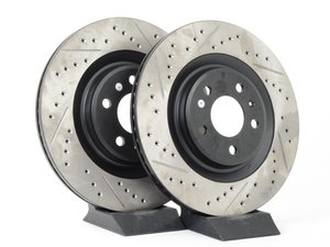 ES#2992304 - 127.33137KT - Rear Drilled & Slotted Brake Rotors - Pair (330x22) - Upgrade your stopping power - StopTech - Audi