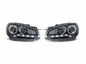 ES#3021484 - LHPGLF10JM8V2TM - Projector Headlight Set - Black - features Audi R8 style led DRLs - Spec-D Tuning - Volkswagen