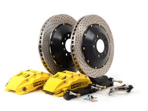 ES#3049100 - 83.135.6700.82 - StopTech front 6 piston big brake kit (355x32mm)  - Comes with 6 piston yellow calipers, 2 piece uncoated drilled rotors and stainless steel brake lines. - Includes brackets and mounting bolts - StopTech - BMW