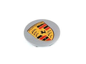 "ES#1499536 - 99736130301 - Silver Center Cap With Full Color Porsche Crest - Priced Each - Cap for 19"" Carerra sport style wheel - 4 required - Genuine Porsche - Porsche"