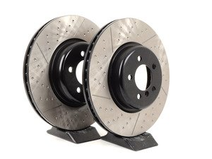 ES#3096745 - 126.34142KT - Cross Dimpled & Slotted Brake Rotors - Front - This design removes performance robbing outgas and material dust caused by braking - StopTech - BMW