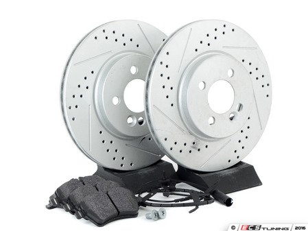 ES#2598398 - 34116774986XSKT2 - Performance Front Brake Service Kit - Featuring ECS GEOMET Slotted/Drilled rotors and Hawk HPS pads - Assembled By ECS - MINI