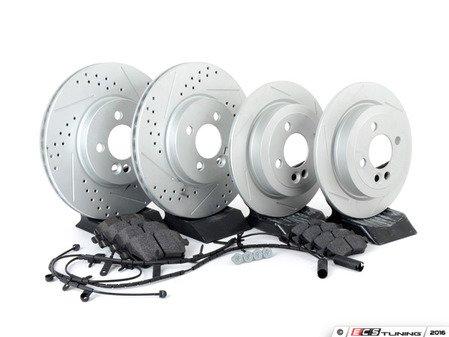 ES#2598393 - 34116774986SLKT1 - Performance Front & Rear Brake Service Kit - Featuring ECS GEOMET Slotted rotors and Hawk HPS pads - Assembled By ECS - MINI