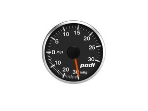 ES#3131116 - BOI-RR - Podi Stepper Motor Boost Gauge - Red Needle - Red/White Back Lighting - 52mm gauge with wiring kit, electronic boost pressure sender and remote - Podi - Audi Volkswagen
