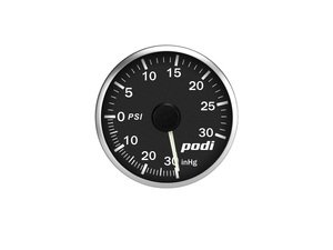ES#3131117 - BOI-RW - Podi Stepper Motor Boost Gauge - White Needle - Red/White Back Lighting - 52mm gauge with wiring kit, electronic boost pressure sender and remote - Podi - Audi Volkswagen