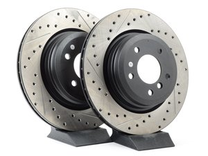 ES#3025874 - 34216764655CDS - Cross-Drilled & Slotted Brake Rotors - Rear - This design removes performance robbing outgas and material dust caused by braking - StopTech - BMW
