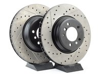 ES#3025794 - 34116770729CDS - Cross-Drilled & Slotted Brake Rotors - Front - This design removes performance robbing outgas and material dust caused by braking - StopTech - BMW