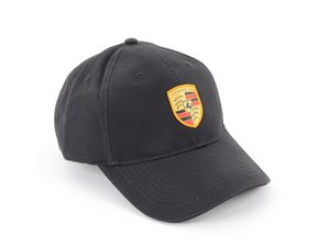 ES#2148155 - WAP0800050C - Porsche Crest Baseball Cap - Black - Adjustable strap closure - Genuine Porsche - Porsche