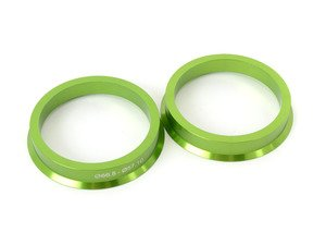 ES#3097126 - C6655710AL - Aluminum Hub Centric Rings - Pair - Includes 66.56mm to 57.1mm aluminum, CNC-machined hub centric rings for proper fitment - Green - Taper Pro - Audi BMW Volkswagen
