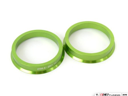 ES#3097126 - C6655710AL - Aluminum Hub Centric Rings - Pair - Includes 66.56mm to 57.1mm aluminum, CNC-machined hub centric rings for proper fitment - Green - Taper Pro - Audi BMW Volkswagen