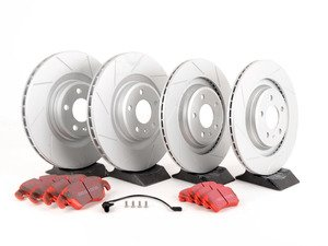 ES#3028730 - 8K0301MSLGMTKT2 - Performance Front & Rear Brake Service Kit - Featuring ECS GEOMET Slotted rotors and EBC RedStuff pads - Assembled By ECS - Audi