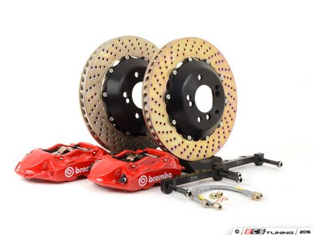 ES#2853788 - 2P1.8033A2 - 08-13 M3 (E90, E92, E93), Rear, Drilled, Red, 4 Piston, 345x28 2-Piece - Brembo -