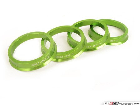 ES#3103523 - c6655710alKT - Aluminum Hub Centric Rings - Set Of Four - Includes 66.56mm to 57.1mm aluminum, CNC-machined hub centric rings for proper fitment - Green - Taper Pro - Audi BMW Volkswagen