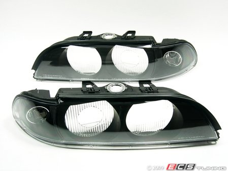 """ES#10668 - FKBL041017 - Indicator Cover / Headlight Cover Set - Crystal Black - """"Robot Eye"""", crystal black Euro look headlight cover for your BMW E39 - FK - BMW"""