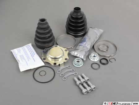 ES#2779820 - 1J0498201JKT1 - Front Inner And Outer CV Joint Refresh Kit - Why risk tearing the same axle out twice? This kit includes front inner and outer CV Joint Boots to service one axle. - Assembled By ECS - Volkswagen