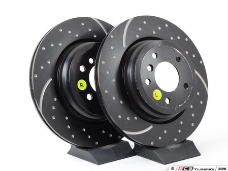 ES#521628 - GD1361 - Rear Cross Drilled & Slotted Brake Rotors - Pair (336X22) - Upgrade to a dimpled and slotted rotor for improved braking - EBC - BMW