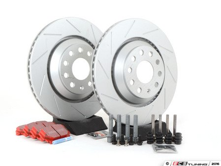 ES#2893851 - 1K0615601N2KT - Performance Rear Brake Service Kit - Featuring ECS GEOMET slotted rotors and EBC RedStuff pads - Assembled By ECS - Volkswagen