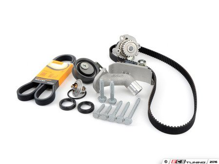 ES#3098275 - 06B198479KT1 - Timing Belt Kit - Ultimate  - Complete kit to service your timing belt, Geba water pump, and thermostat. Featuring ECS Heavy Duty Cast Aluminum Thermostat Housing! - Assembled By ECS - Audi Volkswagen