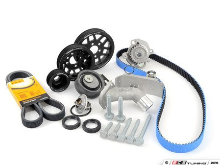 ES#3098298 - 06B198479KT3 - Timing Belt Kit - Ultimate With Gates Racing Timing Belt & Performance Pulley Set - Includes ECS Tuning's Lightweight Underdrive Pulley Kit in Black! Featuring ECS Heavy Duty Cast Aluminum Thermostat Housing! - Assembled By ECS - Audi Volkswagen