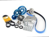 ES#3098296 - 06B198479YKT - Timing Belt Kit - Ultimate With Gates Racing Timing Belt & Performance Pulley Set - Includes ECS Tuning's Lightweight Underdrive Pulley Kit in Blue.Featuring ECS Heavy Duty Cast Aluminum Thermostat Housing! - Assembled By ECS - Audi Volkswagen
