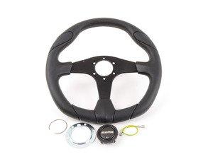 ES#3060352 - QRK35BK0B - MOMO Quark Steering Wheel - Black 350mm  - Customize your driving experience with this fine leather steering wheel - MOMO - Audi BMW Volkswagen Mercedes Benz MINI Porsche