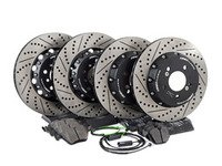 ES#3046853 - 000505ECS02KT5 - Performance Front & Rear Brake Service Kit - Featuring Front and rear ECS 2-piece semi-floating cross drilled and slotted rotors and Hawk HPS pads - Assembled By ECS - BMW