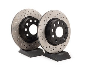 ES#3098696 - 127.33131KT - Rear Cross-Drilled & Slotted Rotors - Pair (272x10) - Upgrade to a slotted / cross-drilled rotor for improved braking - OE# 1K0615601AA - StopTech - Audi Volkswagen