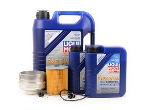 ES#3138744 - 009390ECS06KT1 -  Oil Service Kit - With Magnetic Drain Plug & Polished Aluminum Oil Filter Housing - Featuring polished billet aluminum filter housing! Includes Mann oil filter and Liqui Moly 5w-40 oil - Assembled By ECS - Volkswagen