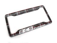 ES#3142194 - K9PF22 - ECS x Klii License Plate Frame - MK6 GTI Plaid - North American stainless steel license plate frame wrapped in MK6 GTI Plaid and your favorite tuning company's logo - ECS x Klii - Volkswagen