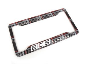 ES#3142195 - K12PF22 - ECS x Klii License Plate Frame - MK7 GTI Plaid - North American stainless steel license plate frame wrapped in MK7 GTI Plaid and your favorite tuning company's logo - ECS x Klii - Volkswagen