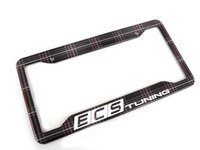 ES#3142193 - K8PF22 - ECS x Klii License Plate Frame - MK5 GTI Plaid - North American stainless steel license plate frame wrapped in MK5 GTI Plaid and your favorite tuning company's logo - ECS x Klii - Volkswagen