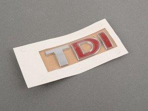 """ES#338199 - 3B0853675ACGQF - """"TDI"""" Emblem - Chrome / Red / Red stick on emblem - Genuine Volkswagen Audi - Volkswagen"""